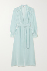 Sleeping with Jacques Freya lace-trimmed crushed-velvet robe