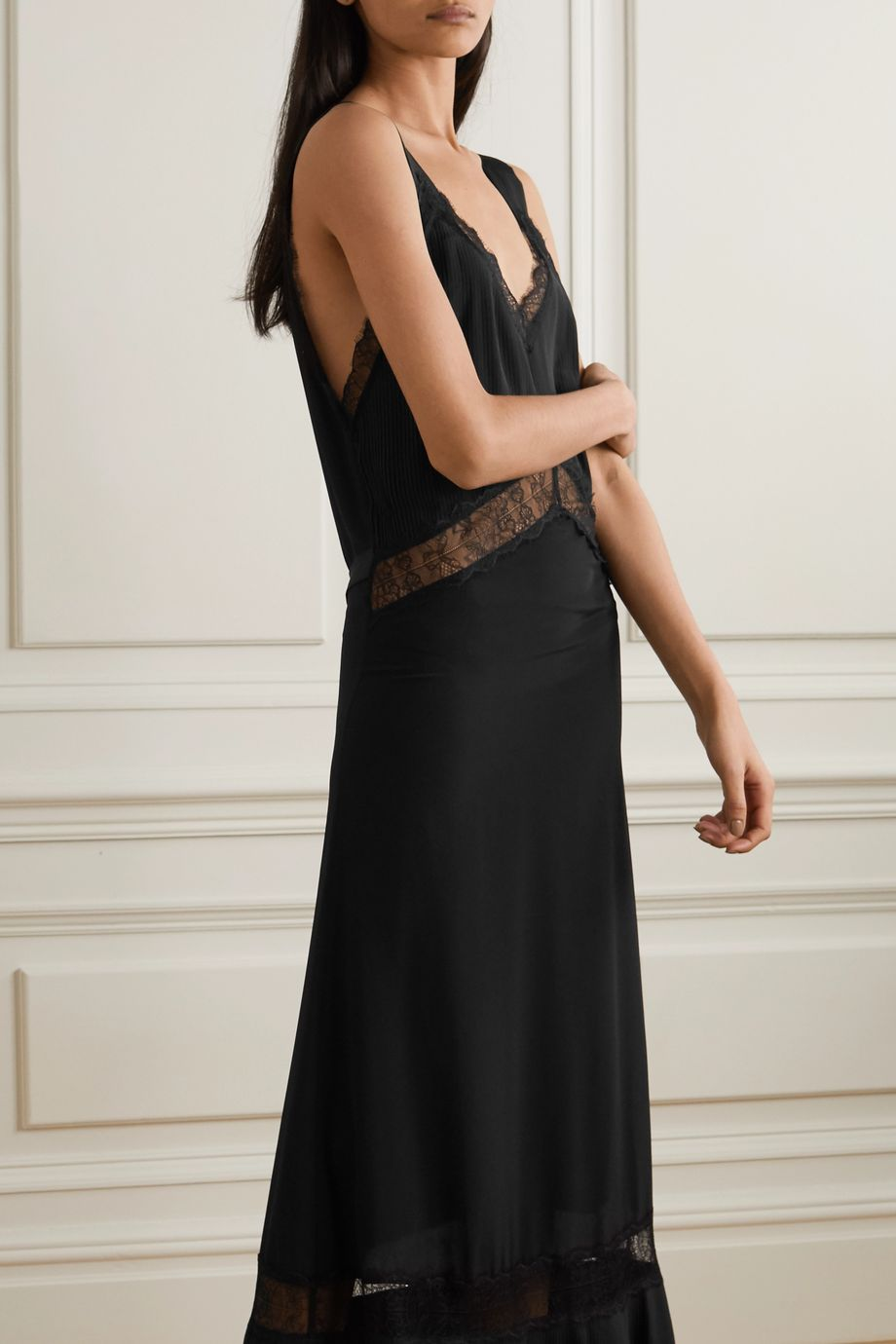 Sleeping with Jacques Osiris lace-paneled silk nightdress