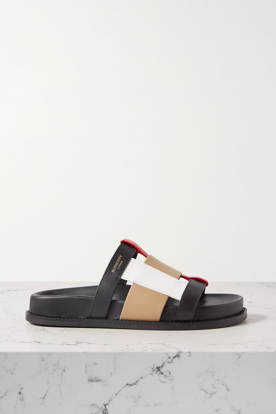 Burberry Color-block leather slides