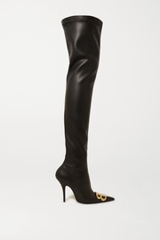 Balenciaga Logo-embellished faux leather thigh boots