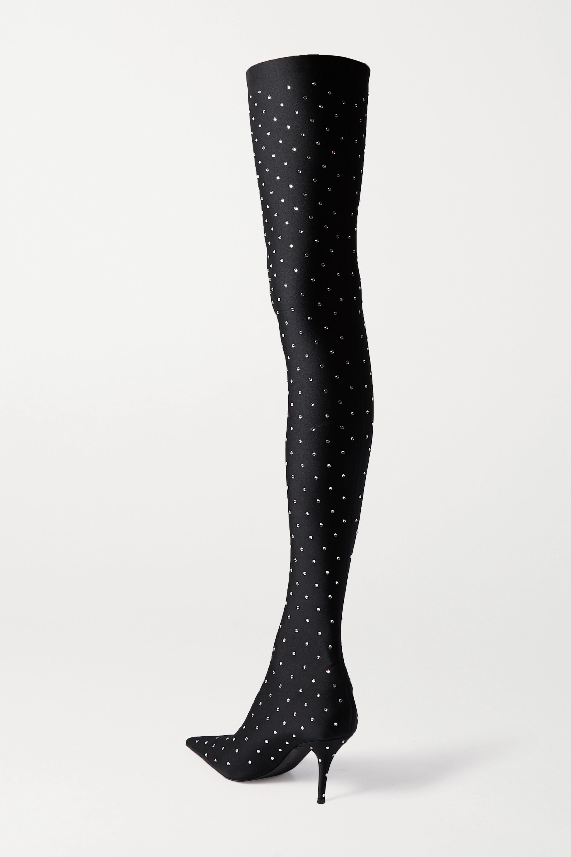 Balenciaga Knife crystal-embellished stretch-satin thigh boots