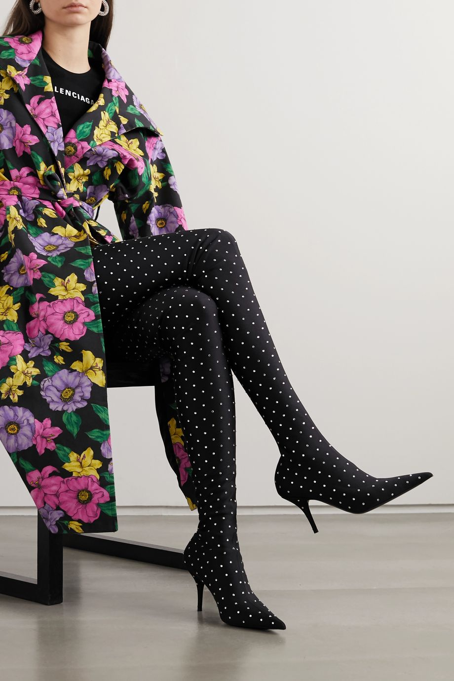 Balenciaga Knife crystal-embellished stretch-satin thigh boots