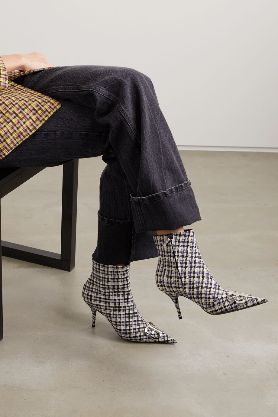 Balenciaga Knife logo-embellished checked tweed ankle boots