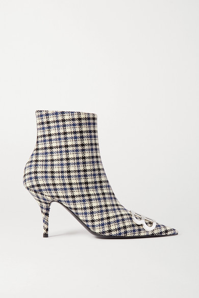 Knife Logo Embellished Checked Tweed Ankle Boots by Balenciaga