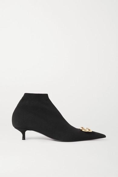 Balenciaga Knife Logo-embellished Stretch-knit Sock Boots In Black