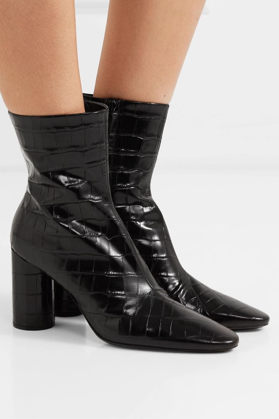 Balenciaga Oval croc-effect leather ankle boots