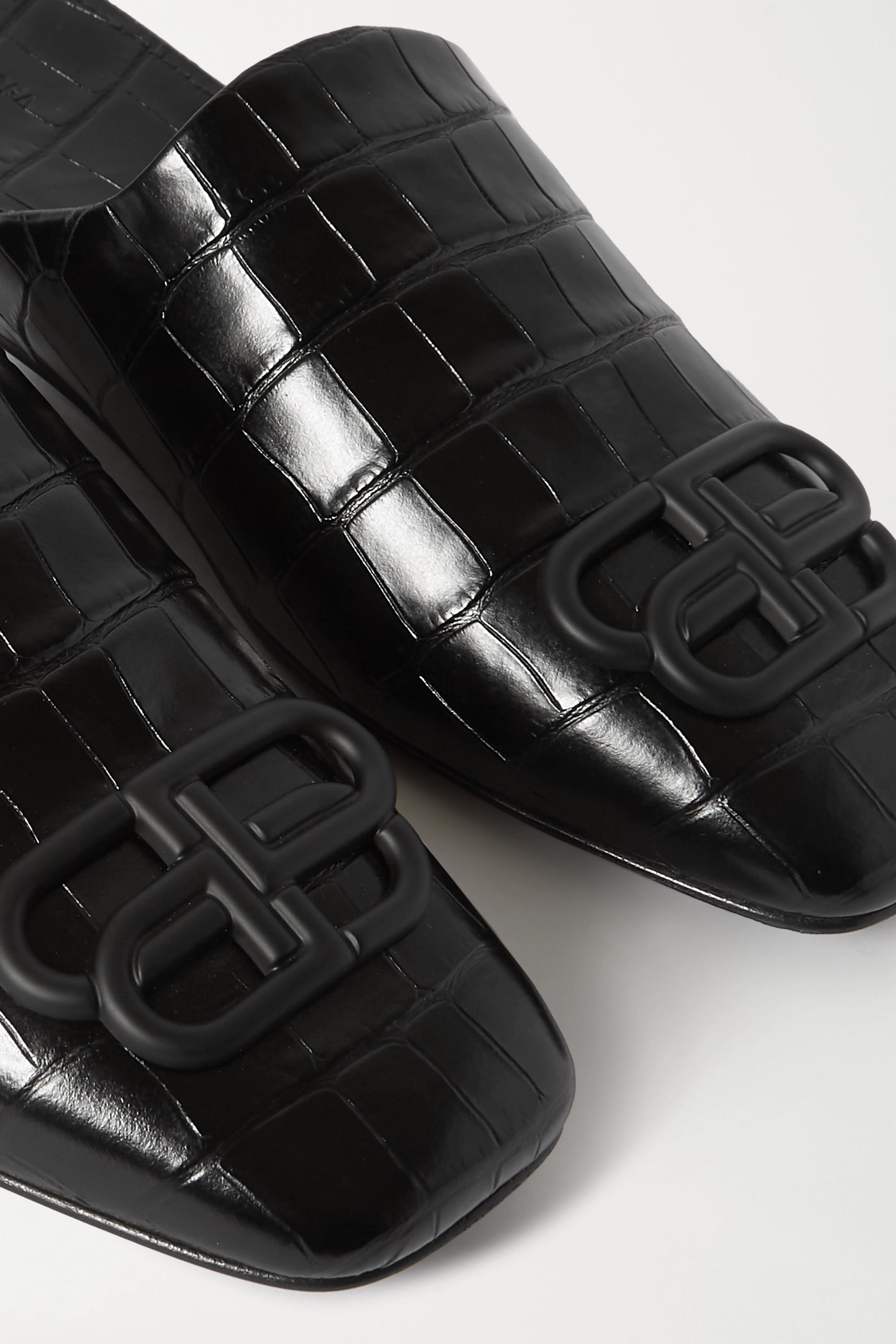 Balenciaga Cosy BB logo-embellished croc-effect leather slippers