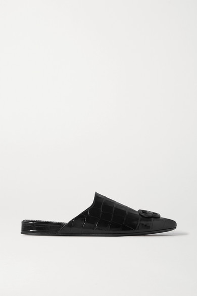 Balenciaga 'cosy' Bb Logo Embellished Croc Embossed Leather Mules In Black