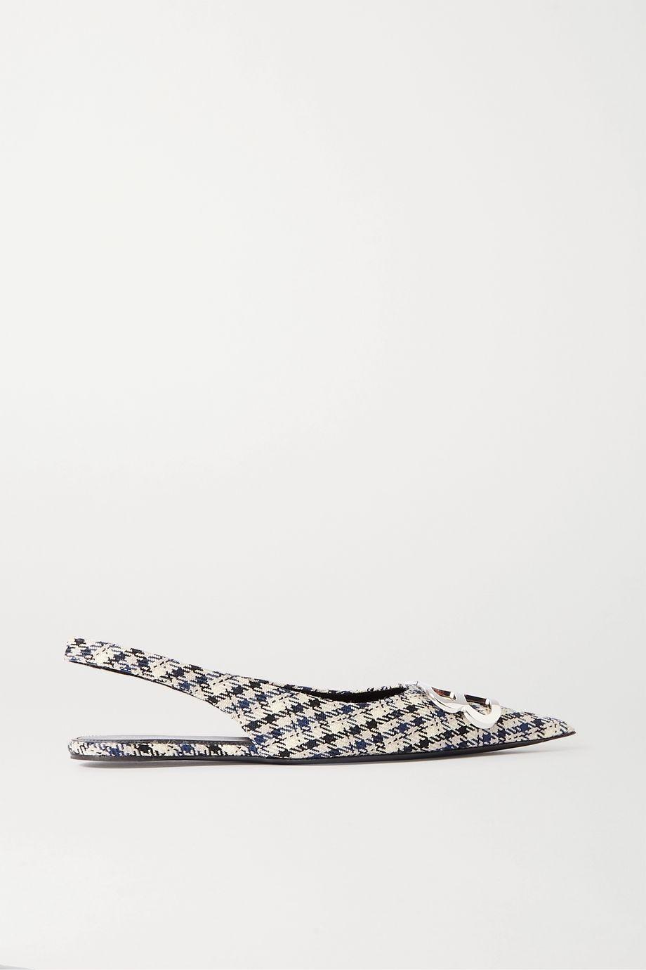 Balenciaga Knife logo-embellished checked wool slingback point-toe flats
