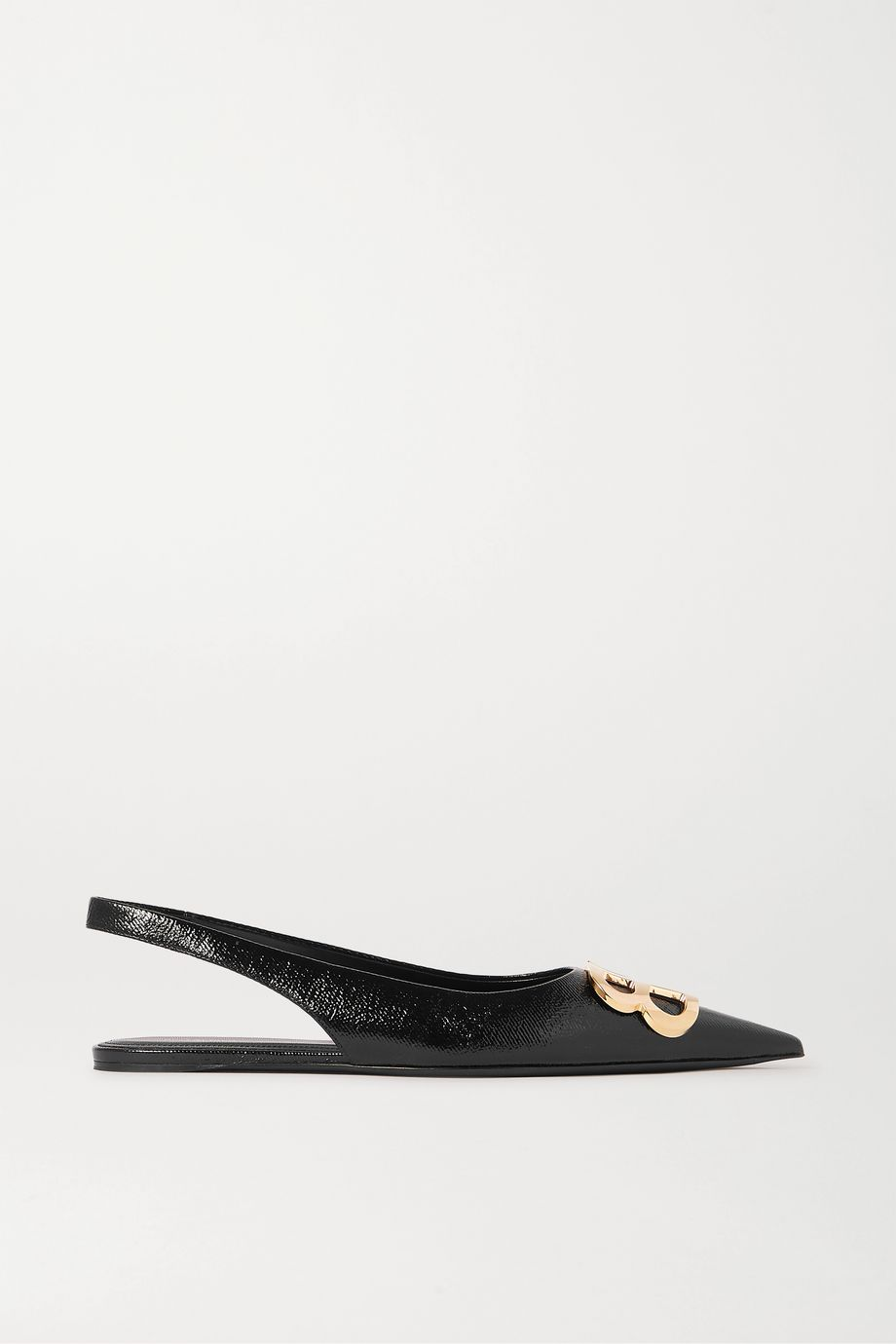 Balenciaga Knife logo-embellished coated-denim slingback point-toe flats