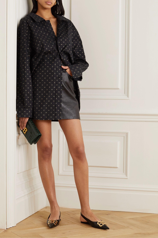 Balenciaga Knife logo-embellished coated-denim slingback point-toe flats