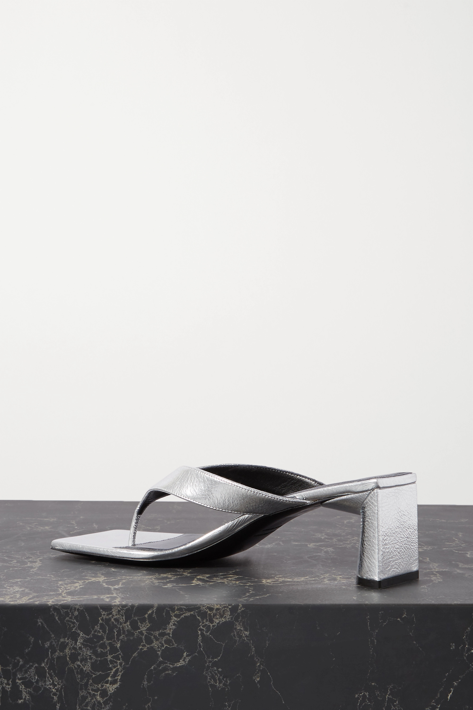 Balenciaga Logo-print metallic textured-leather mules