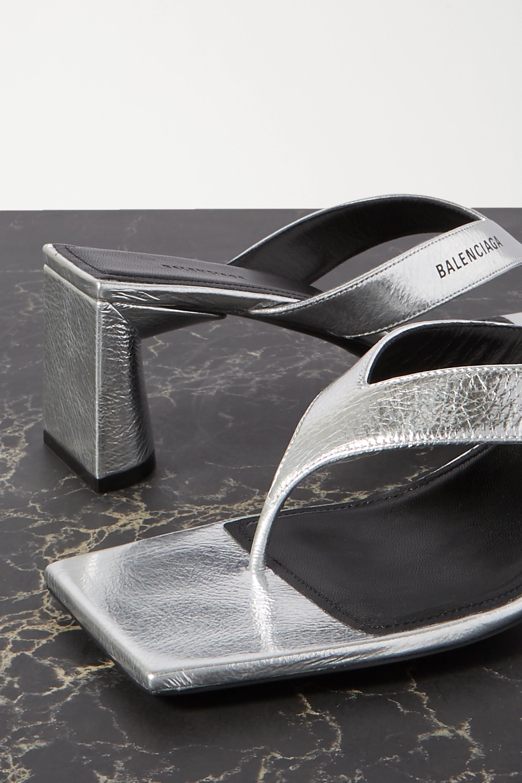 Balenciaga Mules aus strukturiertem Metallic-Leder mit Logoprint