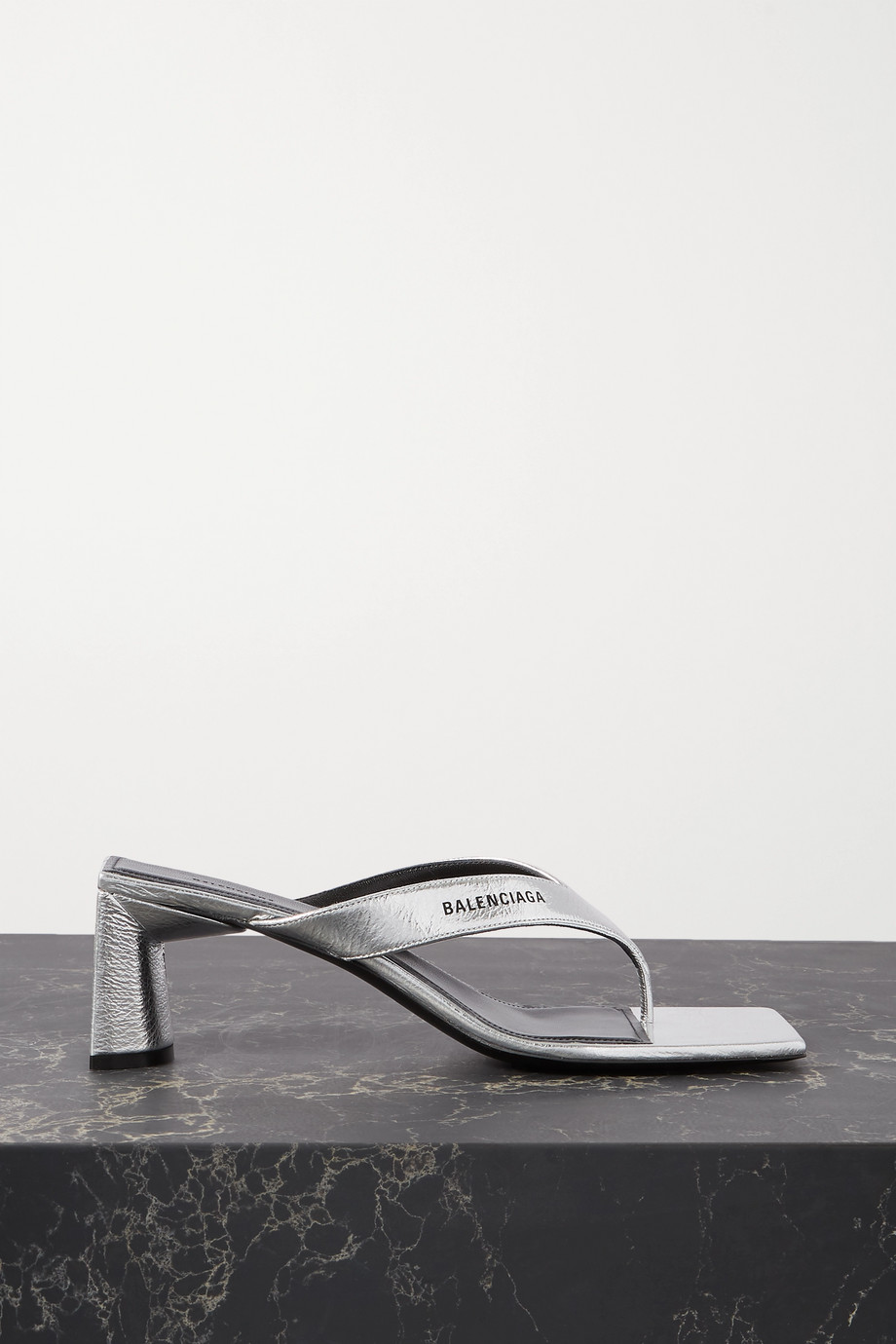 Balenciaga Logo-print metallic textured-leather mules