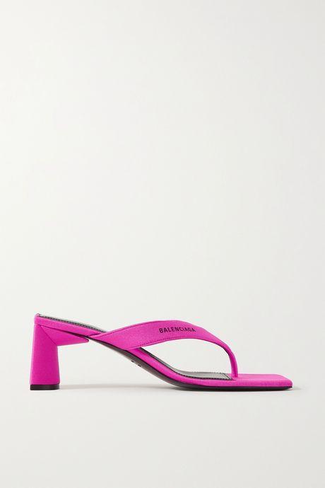 Fuchsia Neon logo-printed jersey sandals | Balenciaga Z2y0Fl