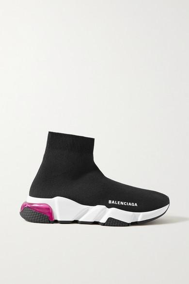 Balenciaga Speed Bubble-heel High-top Sock Trainers In Black