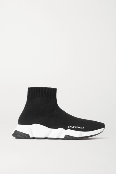 Balenciaga Speed Logo-print Stretch-knit High-top Sneakers In Black
