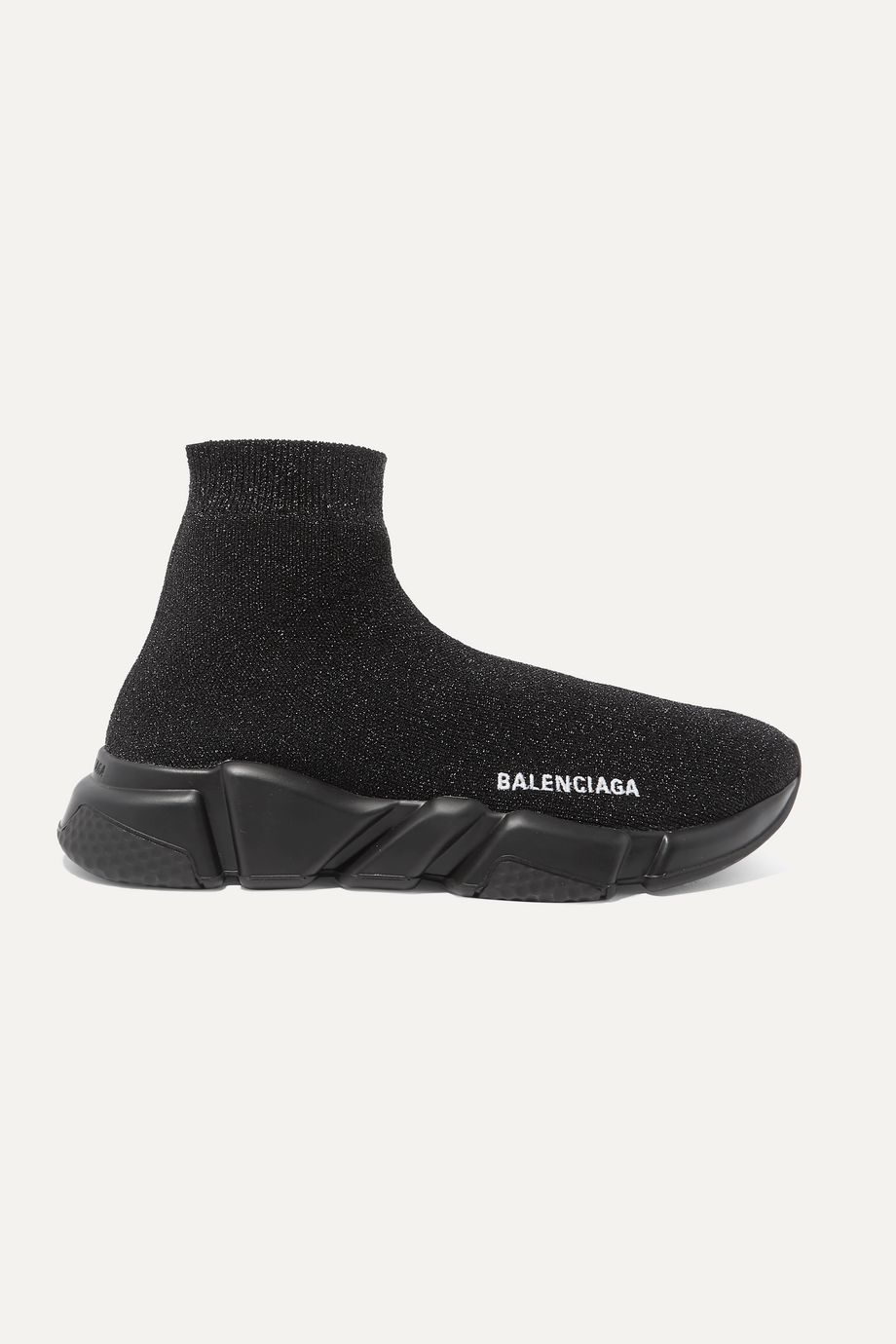 Balenciaga Speed High-Top-Sneakers aus Metallic-Stretch-Strick mit Logostickerei