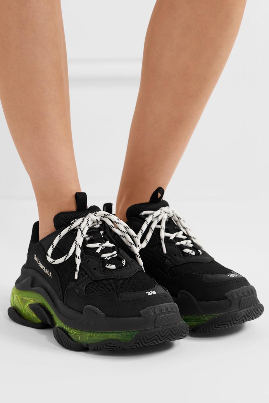 Balenciaga Triple S Clear Sole 品牌标志刺绣皮革牛巴革网眼运动鞋