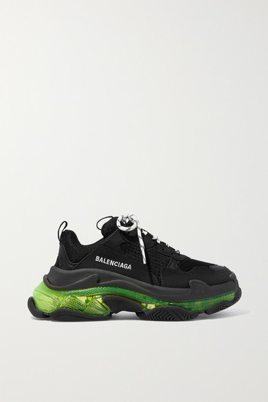 Triple S Clear Sole logo embroidered leather, nubuck and mesh sneakers
