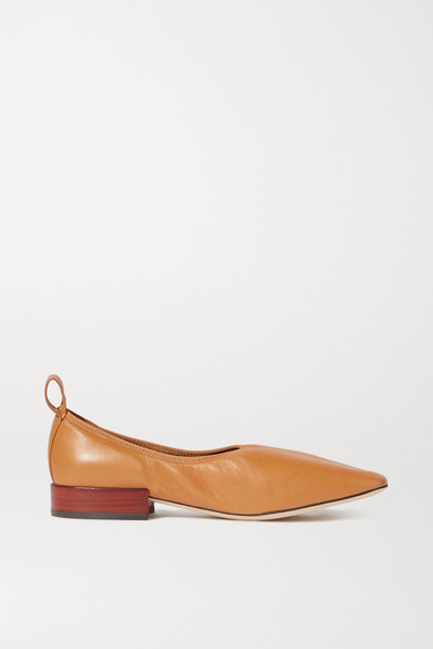 Loewe Soft Leather Ballerina Flats In Tan