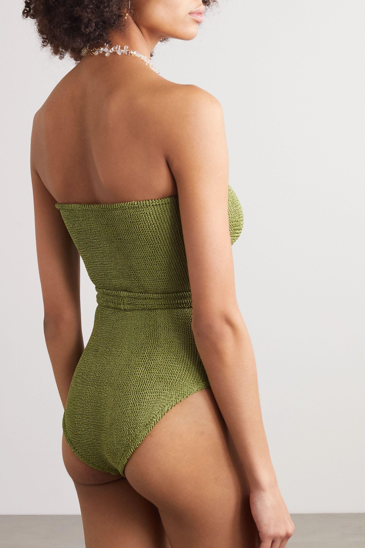 Hunza G Honor belted seersucker bandeau swimsuit