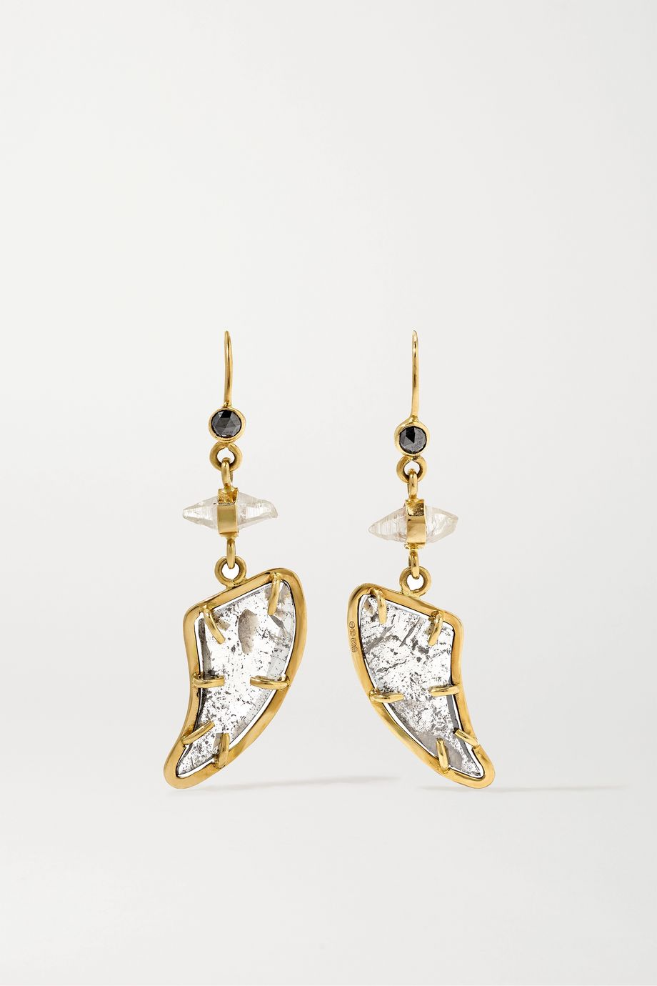Melissa Joy Manning + NET SUSTAIN Ohrringe aus 14 Karat Gold mit Diamanten und Saphiren