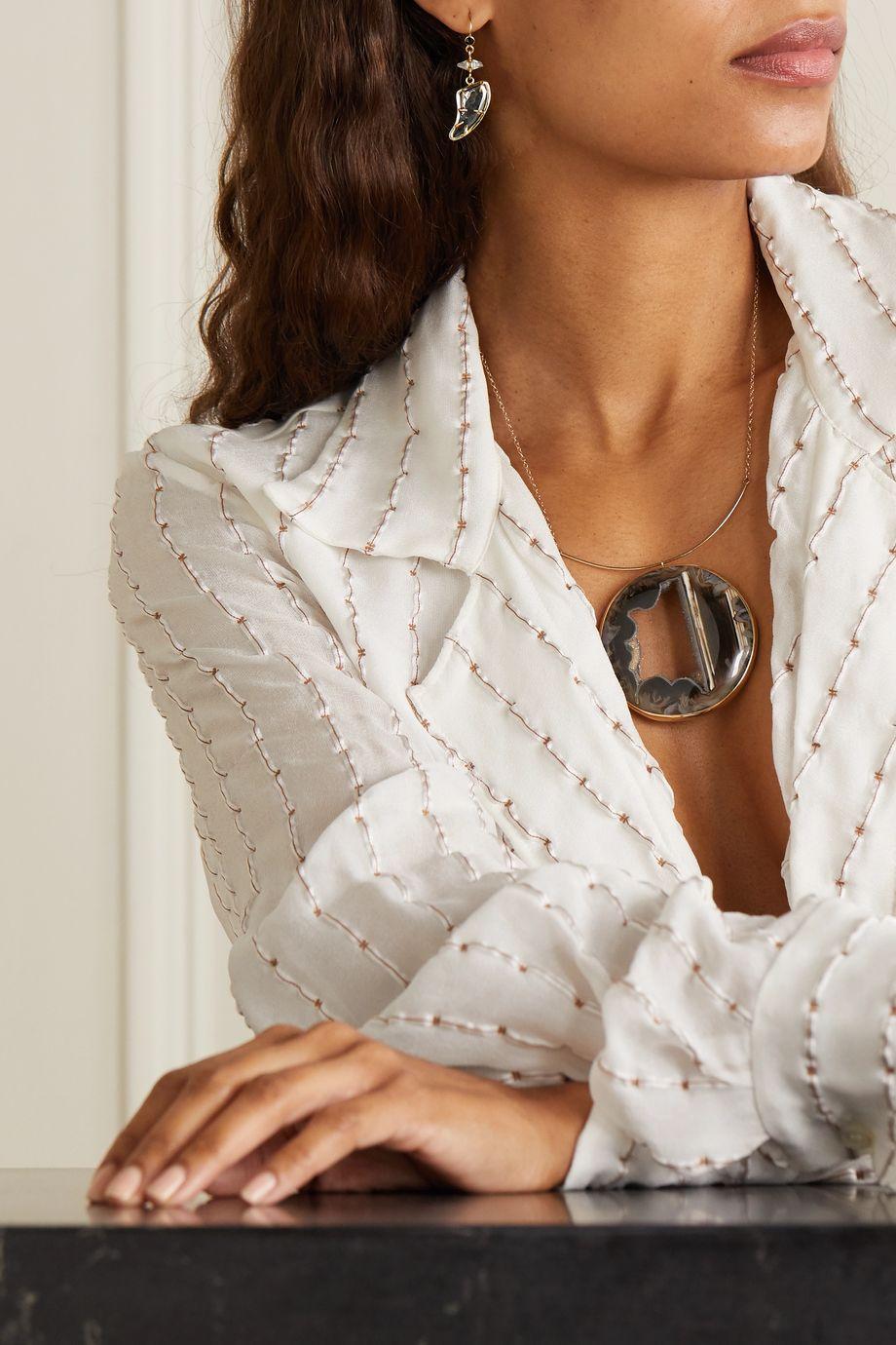 Melissa Joy Manning Boucles d'oreilles en or 14 carats, diamants et saphirs - NET SUSTAIN