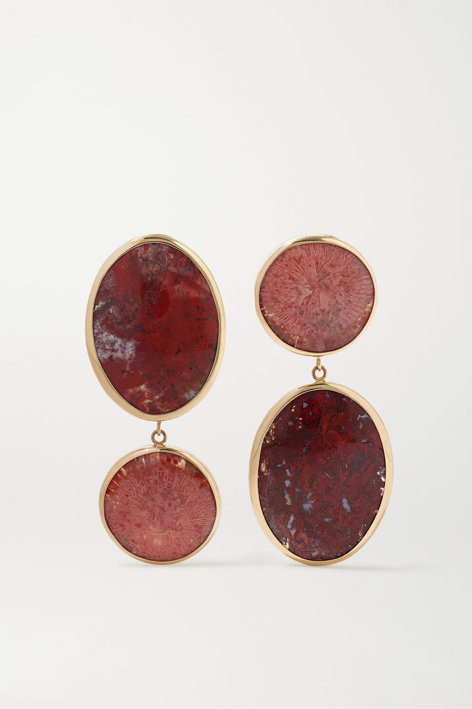 Melissa Joy Manning + NET SUSTAIN 14-karat gold and sterling silver, coral and jasper earrings