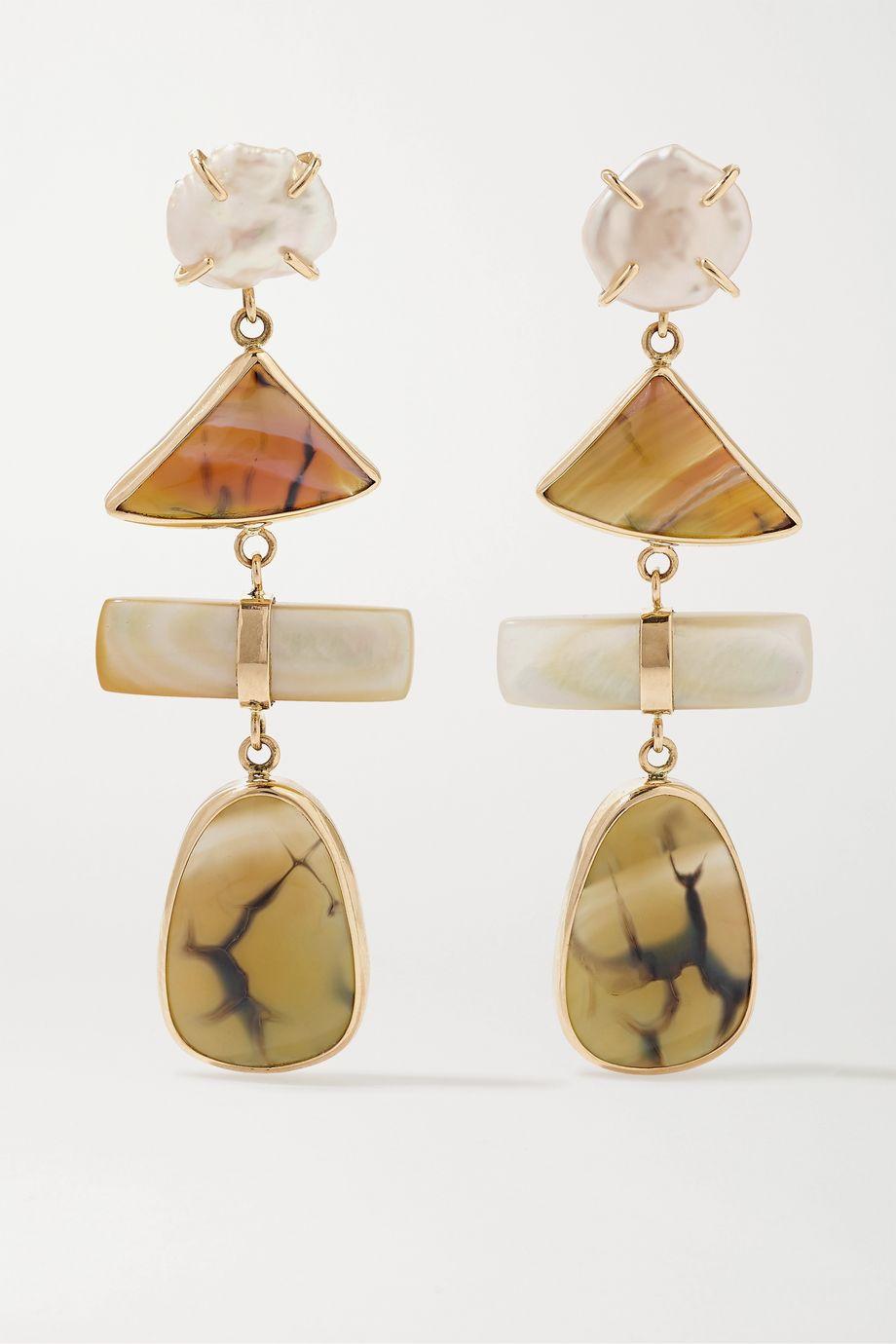 Melissa Joy Manning + NET SUSTAIN Ohrringe aus 14 Karat Gold mit mehreren Steinen
