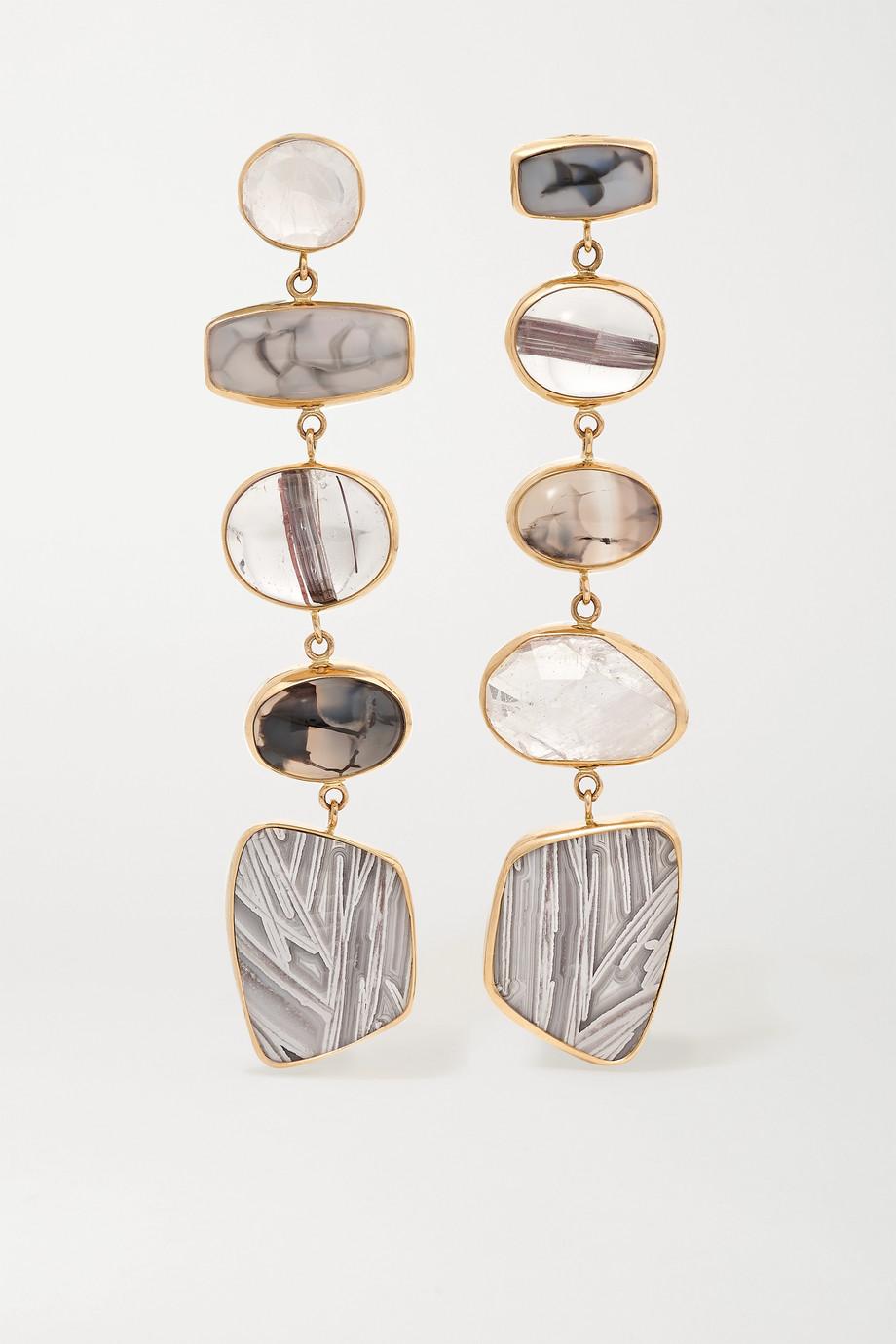Melissa Joy Manning + NET SUSTAIN 14-karat gold multi-stone earrings