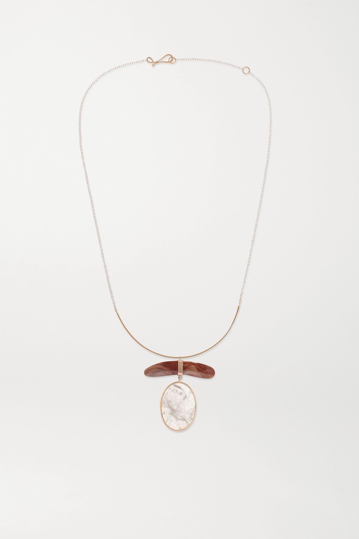 Melissa Joy Manning Collier en or 14 carats, quartz rose et jaspe - NET SUSTAIN