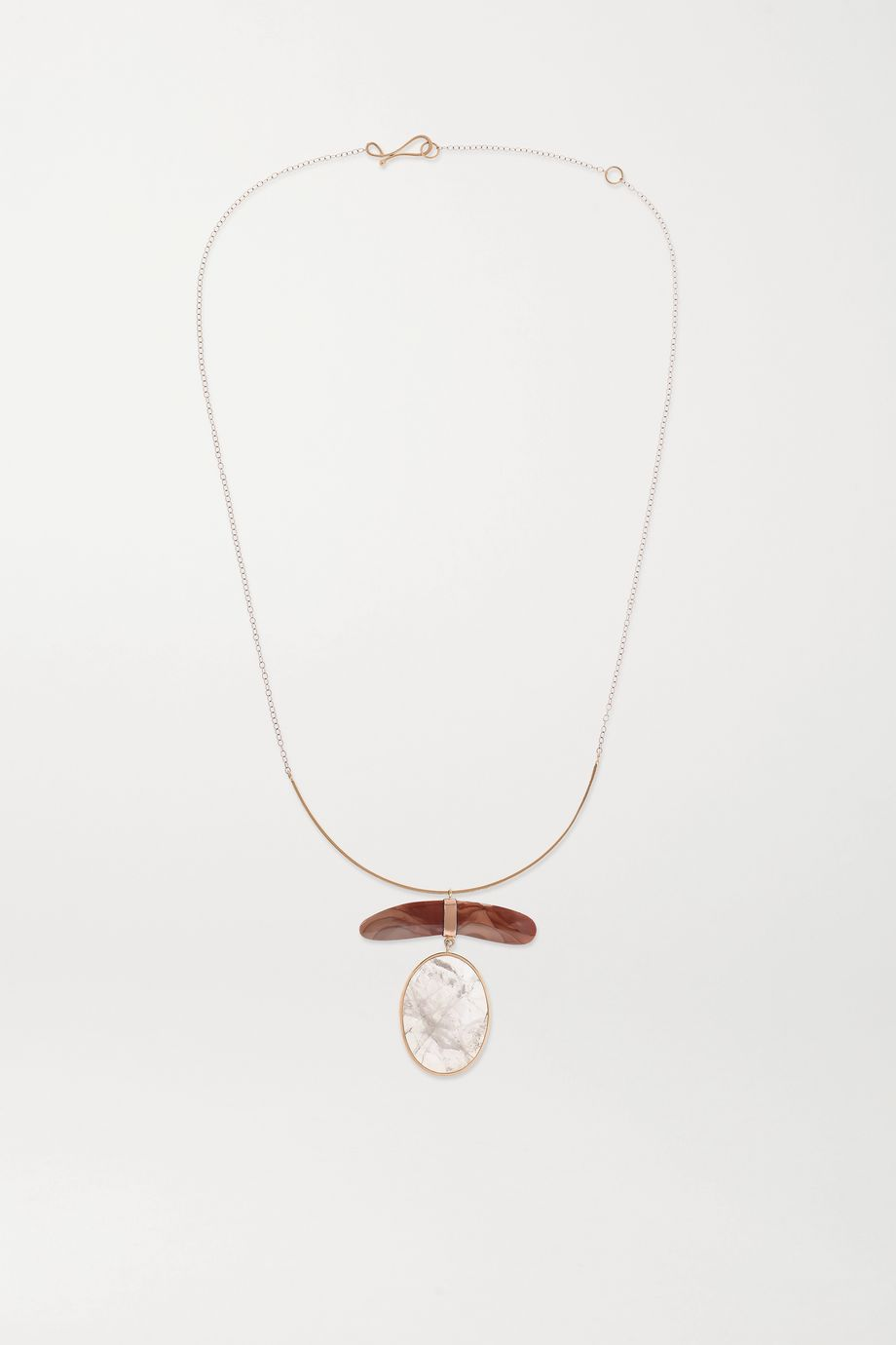 Melissa Joy Manning + NET SUSTAIN 14-karat gold, rose quartz and jasper necklace