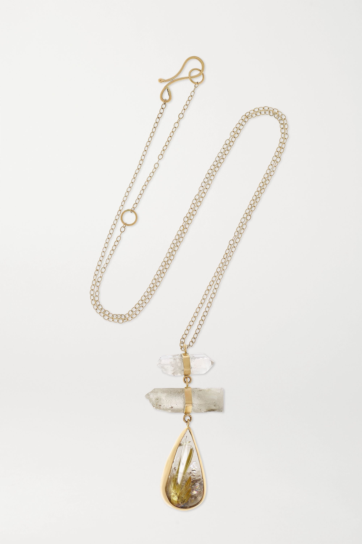 Melissa Joy Manning + NET SUSTAIN Kette aus 14 Karat Gold mit Quarz und Turmalinen