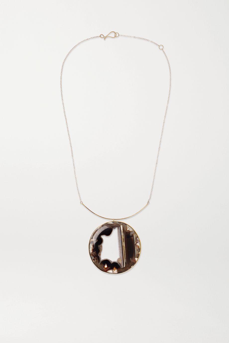 Melissa Joy Manning + NET SUSTAIN 14-karat gold agate necklace