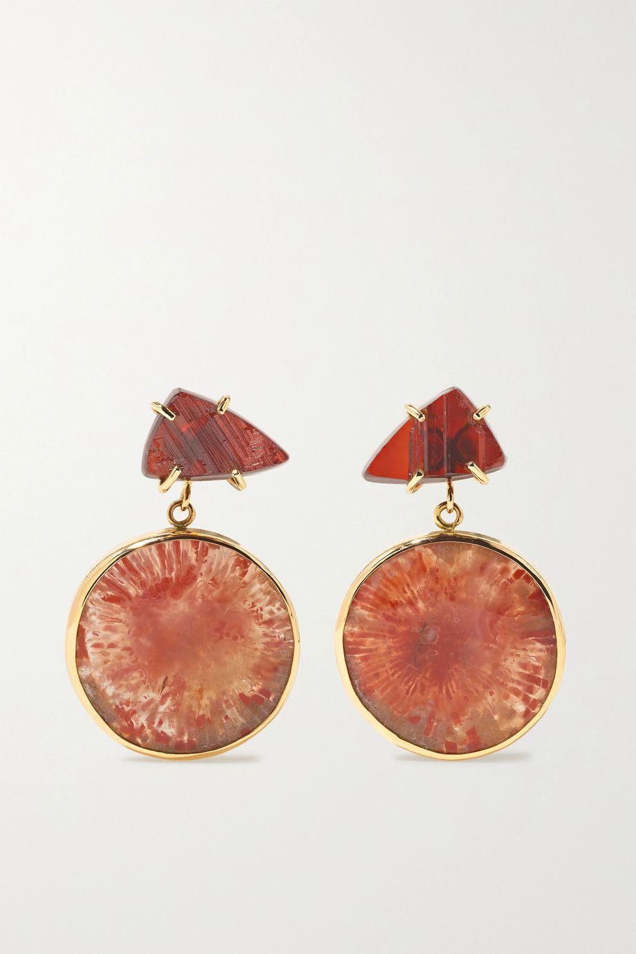 Melissa Joy Manning 14-karat gold, red horn coral and garnet earrings