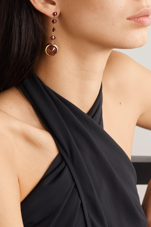 Melissa Joy Manning 14-karat gold, quartz and garnet earrings