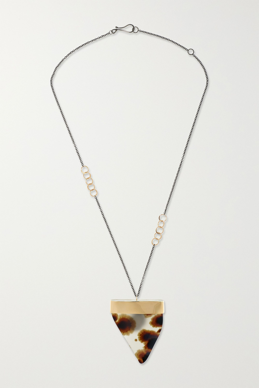 Melissa Joy Manning 14-karat gold and sterling silver agate necklace