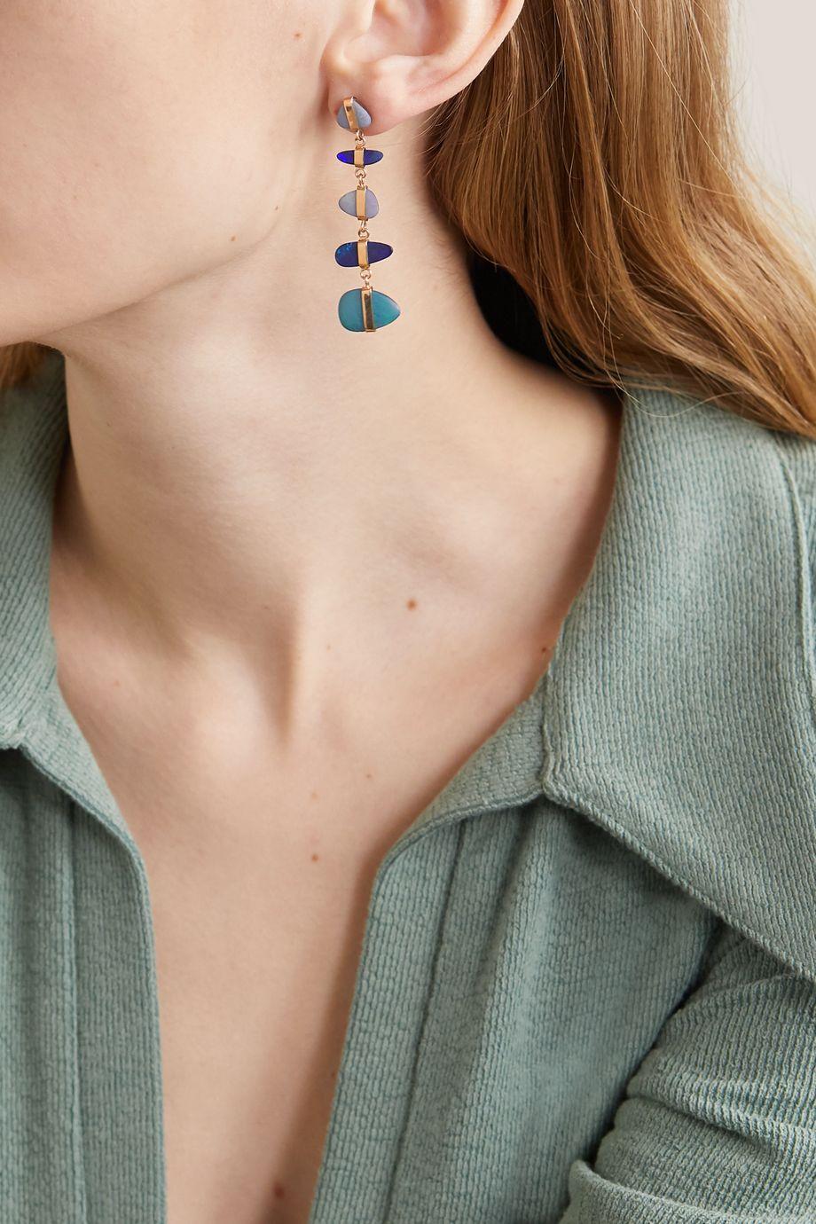 Melissa Joy Manning Boucles d'oreilles en or 14carats et opales