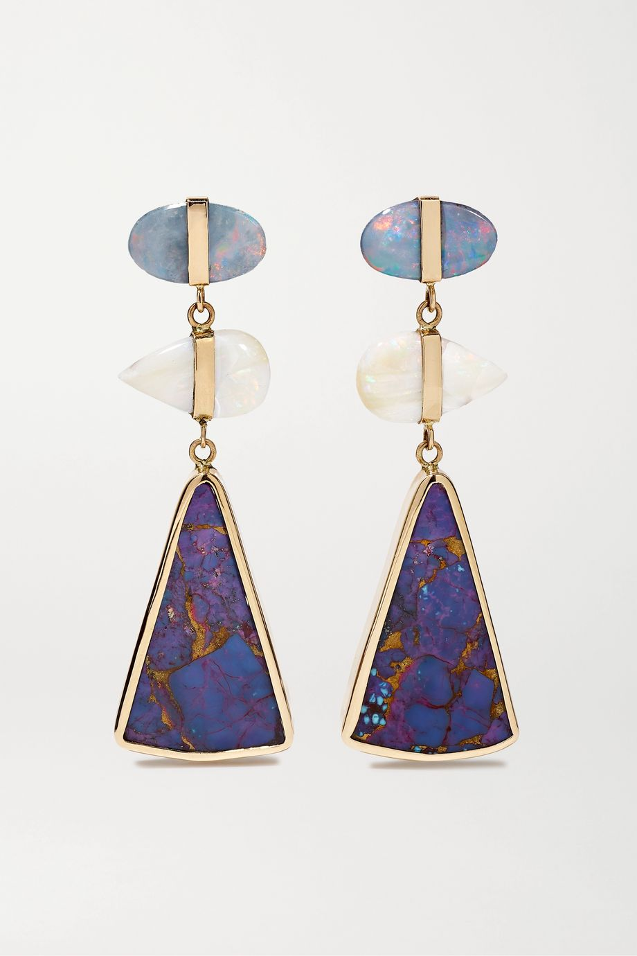 Melissa Joy Manning 14-karat gold, turquoise and opal earrings