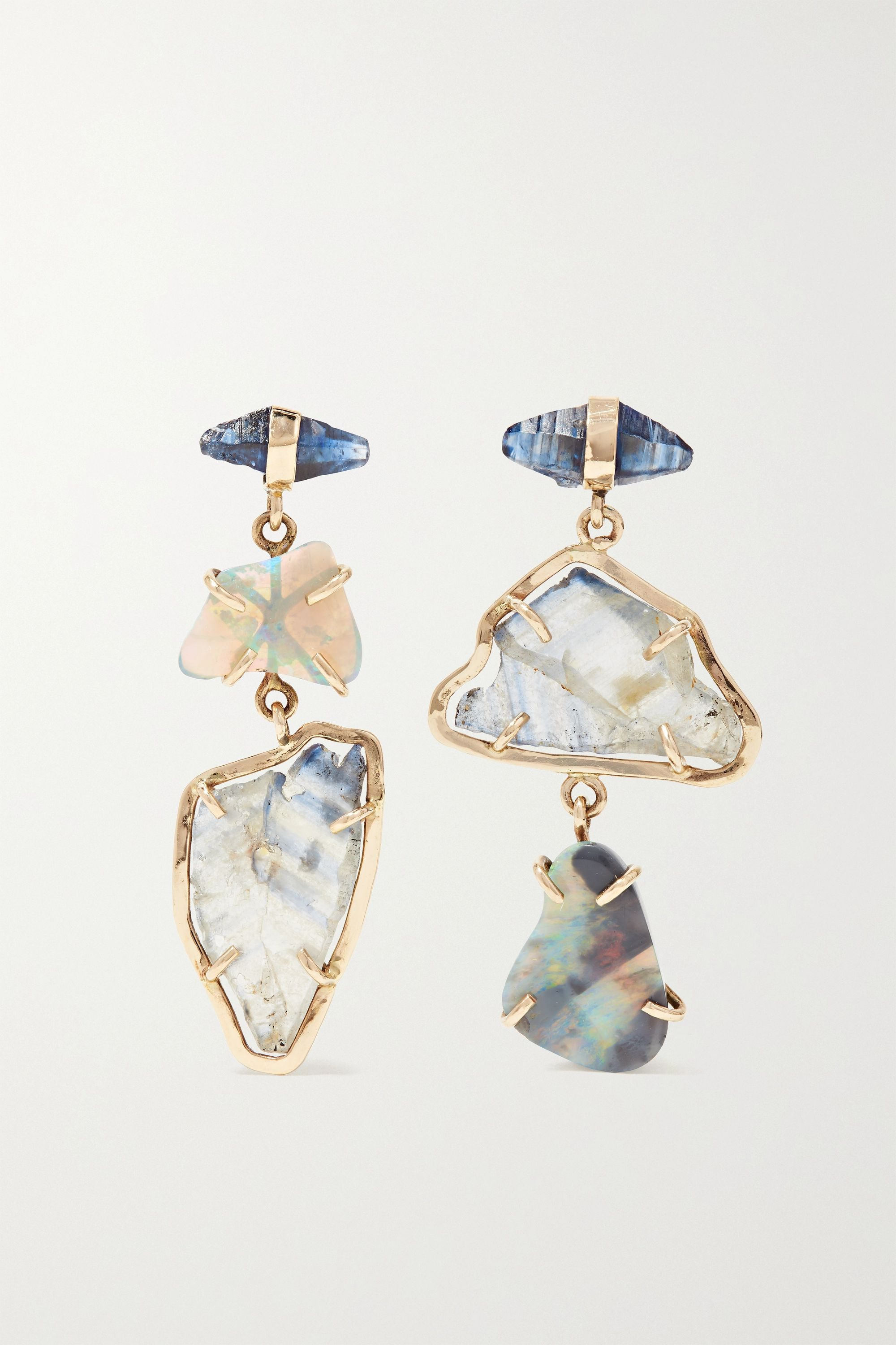 Melissa Joy Manning 14-karat gold, sapphire and opal earrings