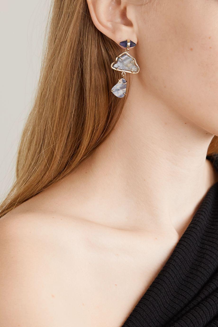 Melissa Joy Manning 14-karat gold, sapphire and opal earrings