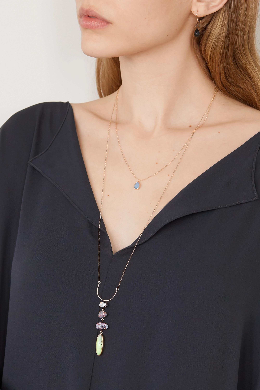 Melissa Joy Manning 14-karat gold opal and chrysoprase necklace