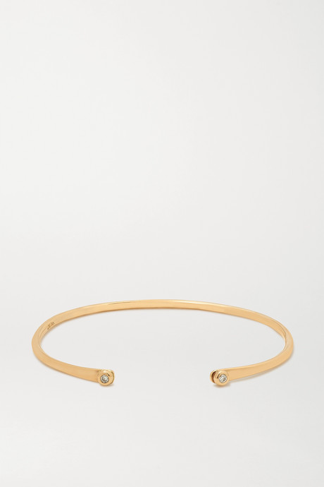 Gold + NET SUSTAIN 14-karat gold diamond cuff | Melissa Joy Manning bts2Qz