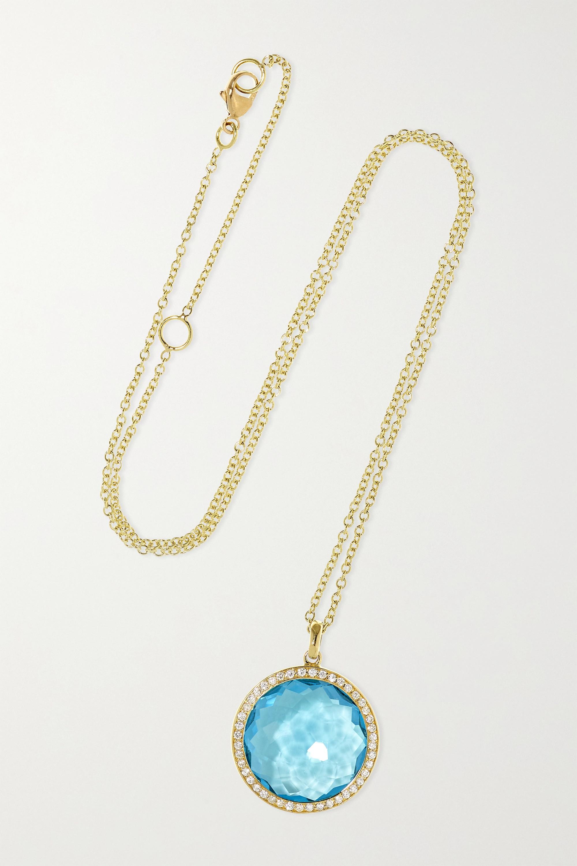 Ippolita Lollipop® mittelgroße Kette aus 18 Karat Grüngold mit Topas und Diamanten