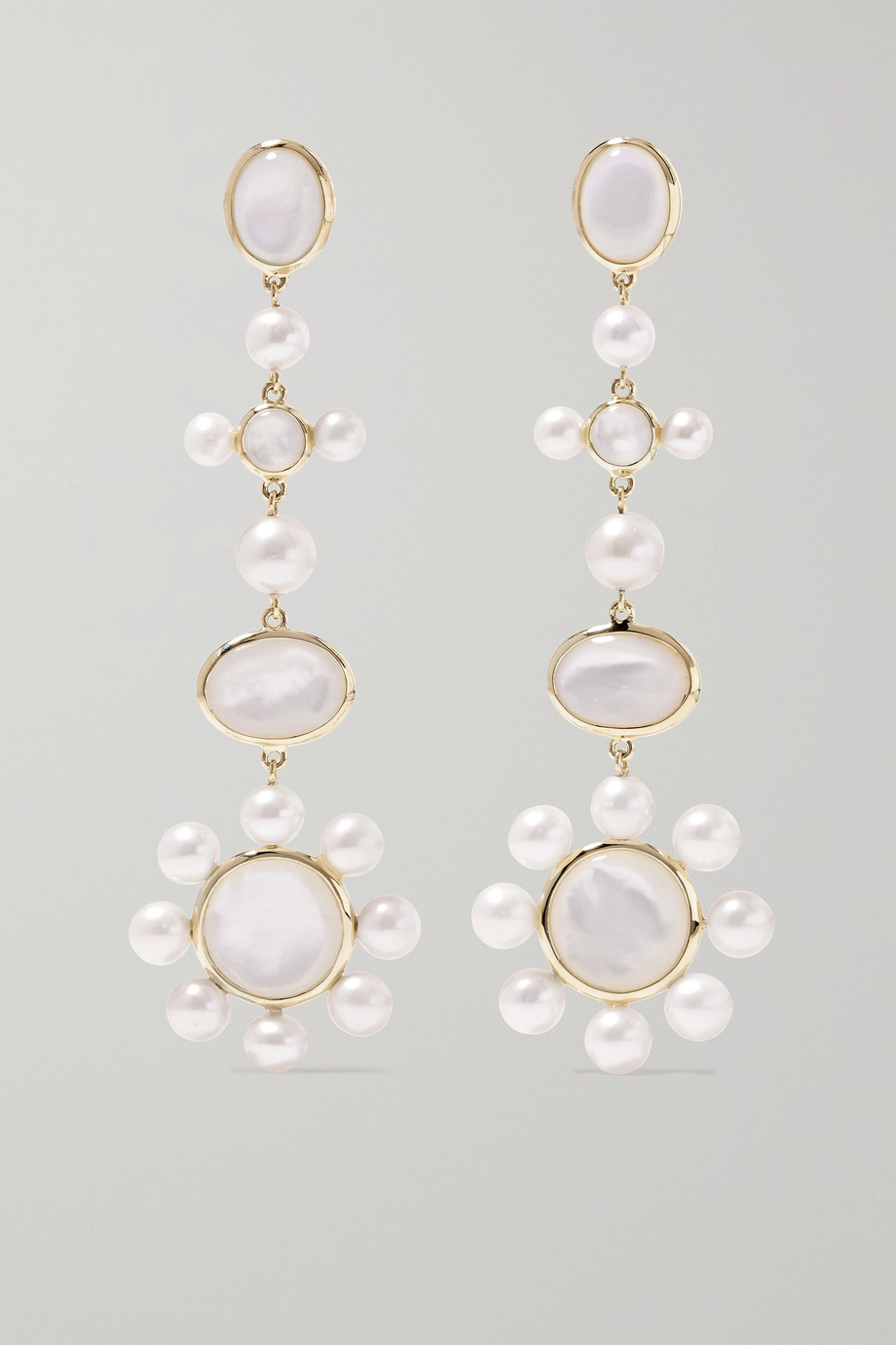 Ippolita Nova medium 18-karat green gold mother-of-pearl earrings