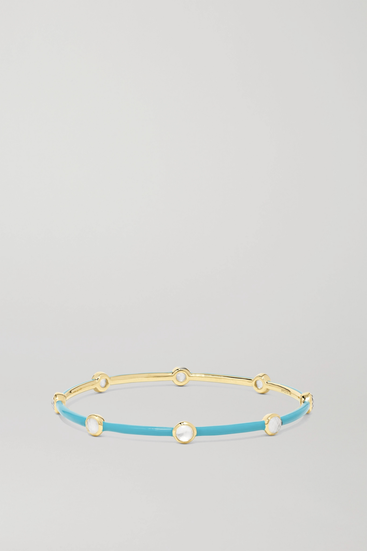 Ippolita Lollipop Carnevale 18-karat green gold, ceramic, mother-of-pearl and quartz doublet bangle
