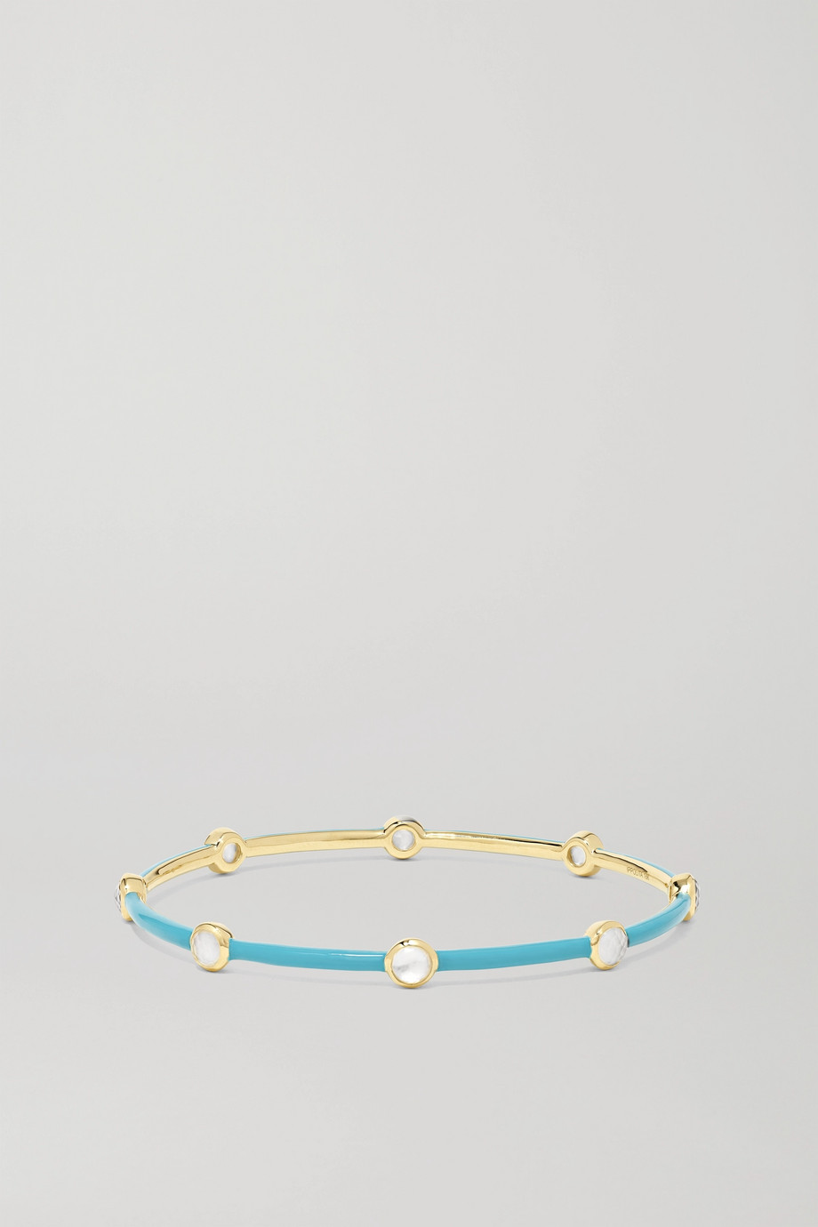 Ippolita Lollipop Carnevale 18-karat green gold, ceramic, mother-of-pearl and quartz doublet bangle