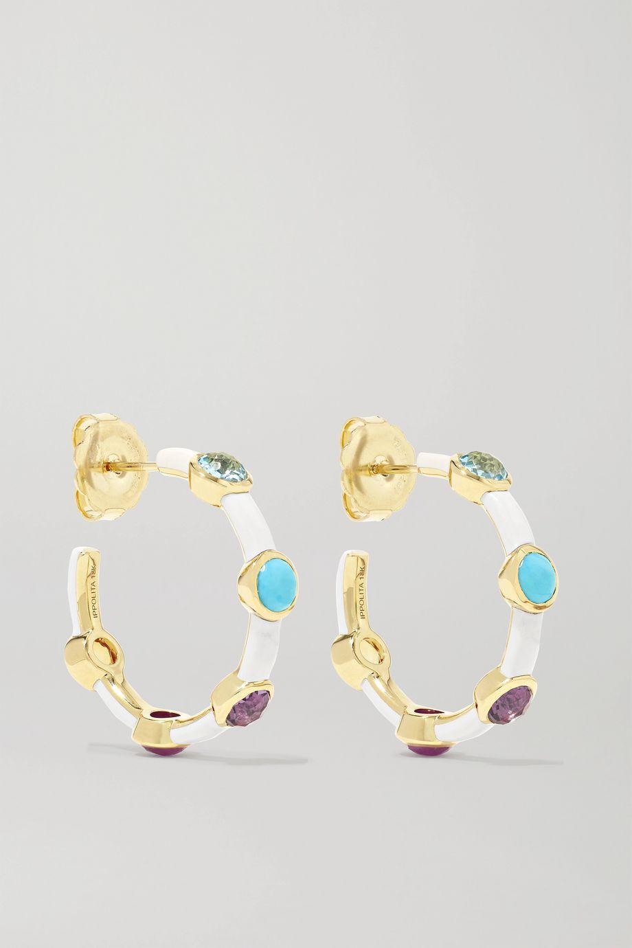 Ippolita Lollipop Carnevale 18-karat green gold, ceramic and multi-stone earrings