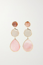 Ippolita Polished Rock Candy 18-karat green gold, mother-of-pearl and shell earrings
